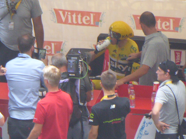 Chris Froome taking a sip
