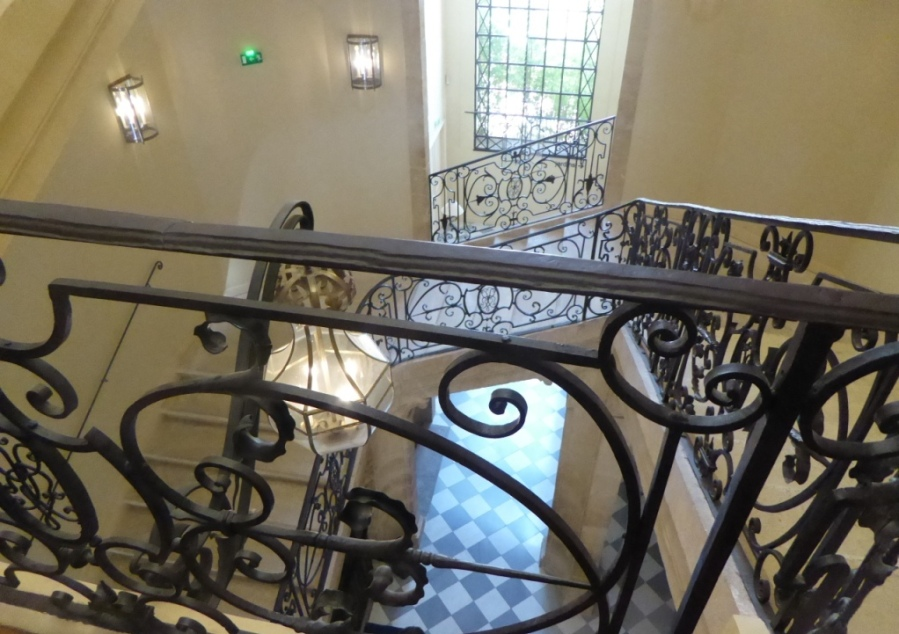 Gorgeous wrought iron staircase at Caumont Art Center, Aix