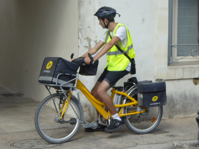 yellow mail by bike